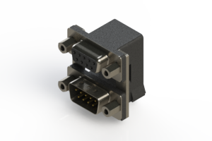 664-009-664-006 - Right-angle Dual Port D-Sub Connector