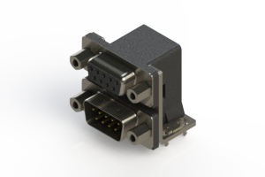 664-009-664-033 - Right-angle Dual Port D-Sub Connector