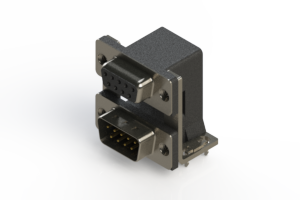 664-009-664-035 - Right-angle Dual Port D-Sub Connector