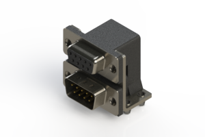 664-009-664-041 - Right-angle Dual Port D-Sub Connector
