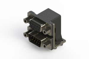 664-009-664-043 - Right-angle Dual Port D-Sub Connector