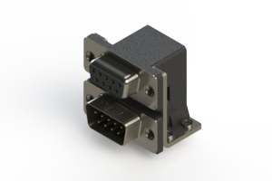 664-009-664-051 - Right-angle Dual Port D-Sub Connector