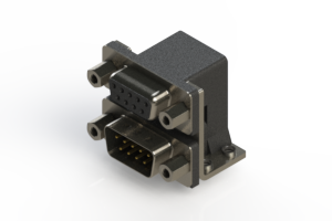 664-009-664-053 - Right-angle Dual Port D-Sub Connector