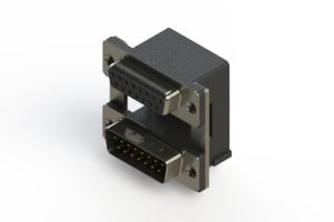664-015-264-008 - Right-angle Dual Port D-Sub Connector
