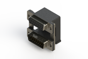 664-015-264-00C - Right-angle Dual Port D-Sub Connector