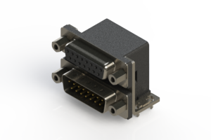 664-015-264-033 - Right-angle Dual Port D-Sub Connector