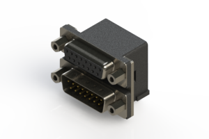 664-015-364-003 - Right-angle Dual Port D-Sub Connector