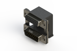664-015-664-00A - Right-angle Dual Port D-Sub Connector