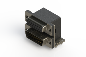 664-015-664-032 - Right-angle Dual Port D-Sub Connector