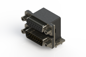 664-015-664-033 - Right-angle Dual Port D-Sub Connector