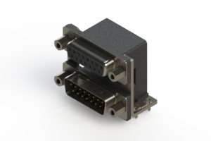 664-015-664-036 - Right-angle Dual Port D-Sub Connector