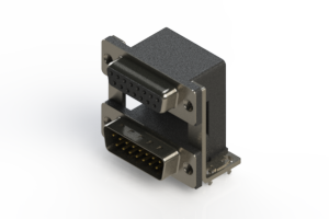 664-015-664-038 - Right-angle Dual Port D-Sub Connector