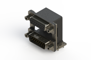 664-015-664-039 - Right-angle Dual Port D-Sub Connector