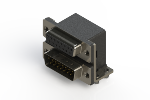 664-015-664-041 - Right-angle Dual Port D-Sub Connector