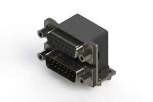 664-015-664-043 - Right-angle Dual Port D-Sub Connector