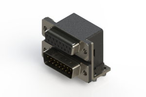 664-015-664-044 - Right-angle Dual Port D-Sub Connector