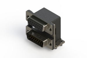 664-015-664-045 - Right-angle Dual Port D-Sub Connector