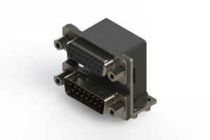 664-015-664-046 - Right-angle Dual Port D-Sub Connector