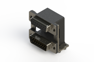 664-015-664-048 - Right-angle Dual Port D-Sub Connector