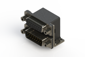 664-015-664-053 - Right-angle Dual Port D-Sub Connector