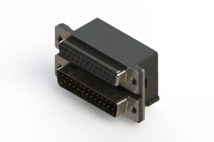 664-025-264-002 - Right-angle Dual Port D-Sub Connector
