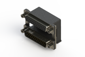 664-025-264-009 - Right-angle Dual Port D-Sub Connector