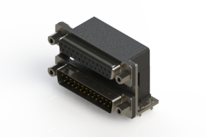 664-025-264-036 - Right-angle Dual Port D-Sub Connector