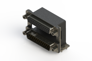 664-025-264-039 - Right-angle Dual Port D-Sub Connector