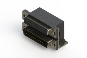 664-025-264-051 - Right-angle Dual Port D-Sub Connector