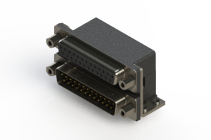 664-025-264-053 - Right-angle Dual Port D-Sub Connector