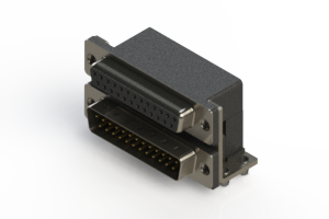 664-025-364-041 - Right-angle Dual Port D-Sub Connector