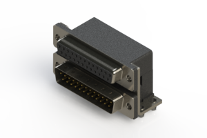 664-025-364-044 - Right-angle Dual Port D-Sub Connector