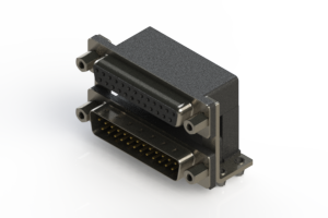 664-025-364-046 - Right-angle Dual Port D-Sub Connector