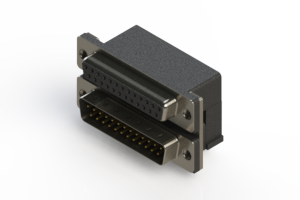 664-025-664-001 - Right-angle Dual Port D-Sub Connector