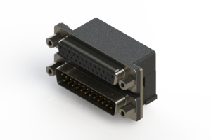 664-025-664-003 - Right-angle Dual Port D-Sub Connector