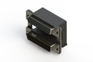 664-025-664-008 - Right-angle Dual Port D-Sub Connector