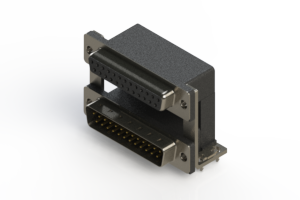 664-025-664-030 - Right-angle Dual Port D-Sub Connector