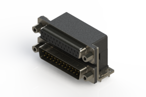 664-025-664-033 - Right-angle Dual Port D-Sub Connector