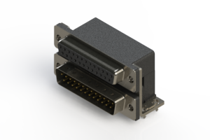 664-025-664-034 - Right-angle Dual Port D-Sub Connector