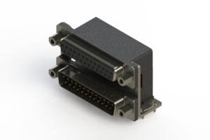 664-025-664-036 - Right-angle Dual Port D-Sub Connector