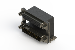 664-025-664-039 - Right-angle Dual Port D-Sub Connector