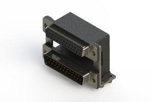 664-025-664-040 - Right-angle Dual Port D-Sub Connector