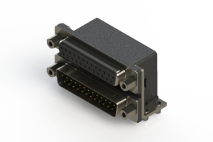 664-025-664-043 - Right-angle Dual Port D-Sub Connector
