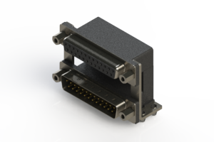 664-025-664-049 - Right-angle Dual Port D-Sub Connector