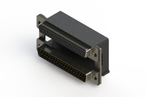 664-037-264-008 - Right-angle Dual Port D-Sub Connector