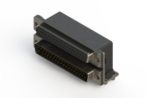 664-037-264-044 - Right-angle Dual Port D-Sub Connector