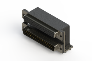 664-037-364-045 - Right-angle Dual Port D-Sub Connector