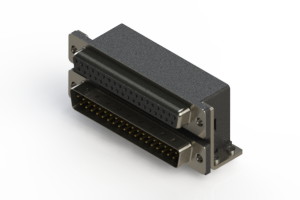 664-037-364-054 - Right-angle Dual Port D-Sub Connector