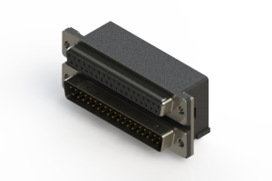 664-037-664-004 - Right-angle Dual Port D-Sub Connector