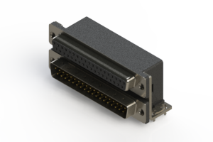 664-037-664-031 - Right-angle Dual Port D-Sub Connector